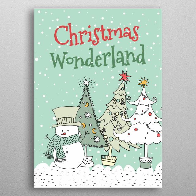 Christmas Wonderland Scene metal poster