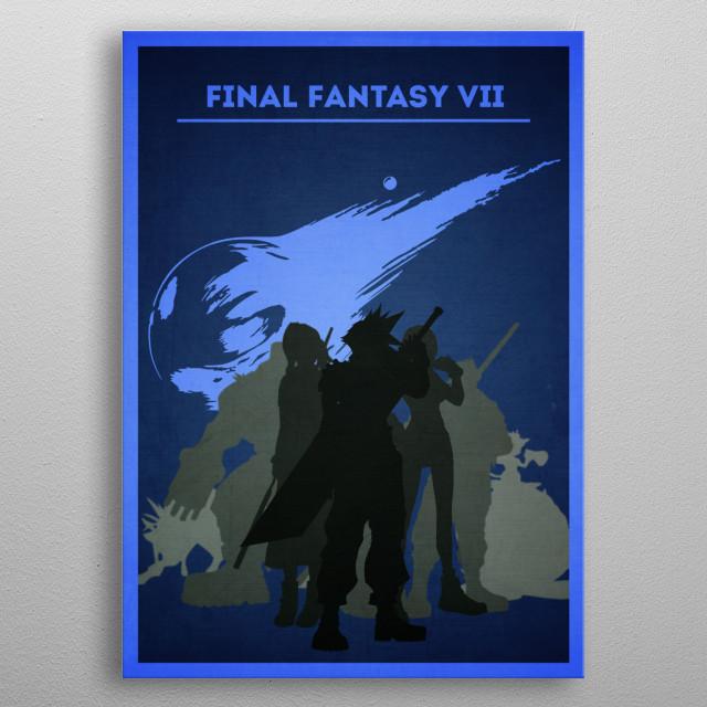 Final Fantasy VII - Minimalist portrait metal poster