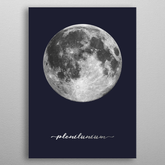Full Moon - Latin - On Navy Blue metal poster