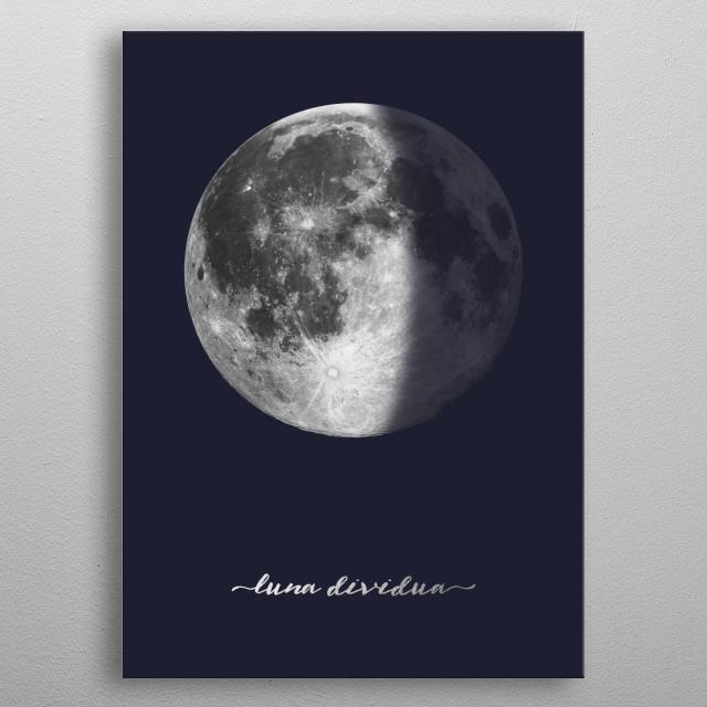 Third Quarter Moon - Latin - On Navy Blue metal poster