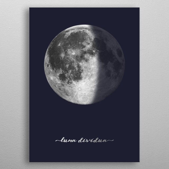 High-quality metal print from amazing The Moon On Navy In Latin collection will bring unique style to your space and will show off your personality. metal poster