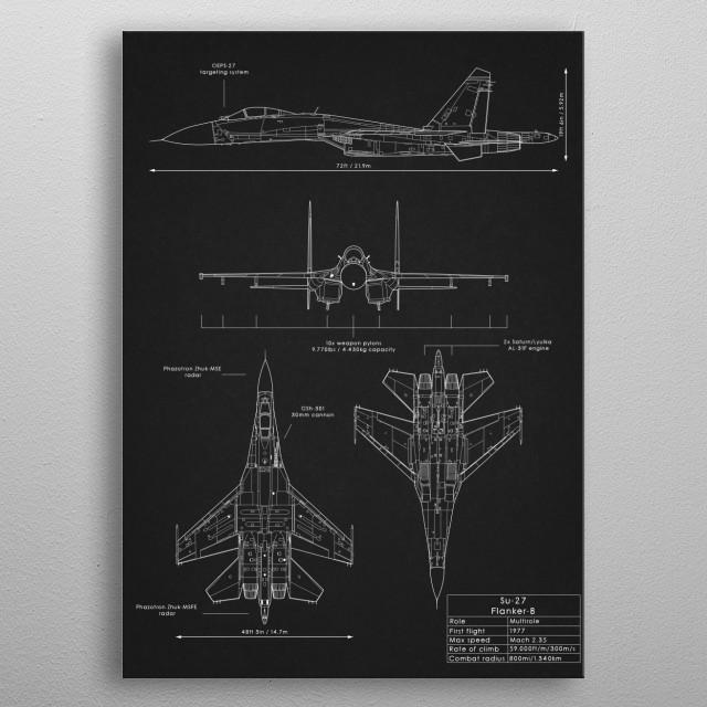 Su-27 Flanker metal poster