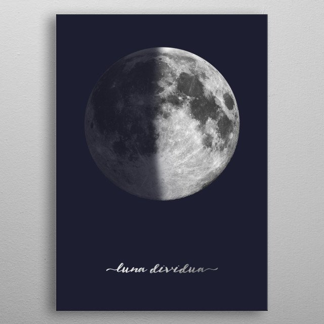First Quarter Moon - Latin - On Navy Blue metal poster