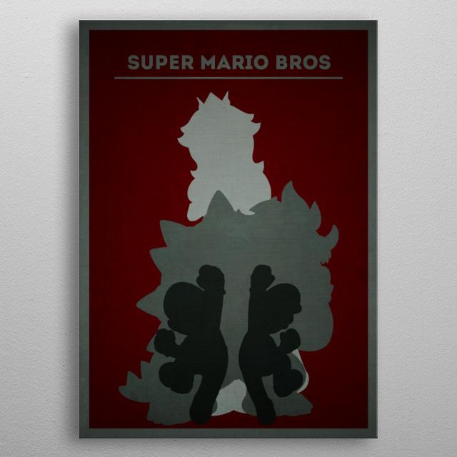 Super Mario Bros - Minimalist portrait metal poster