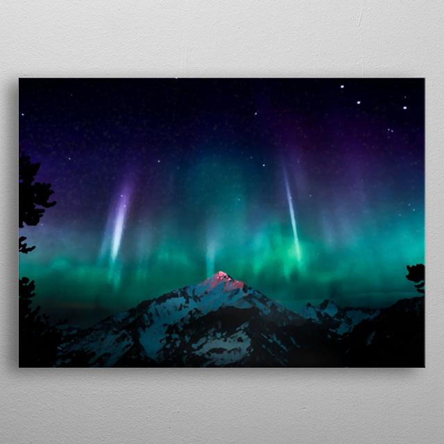 Aurora Borealis Over The Mountain metal poster