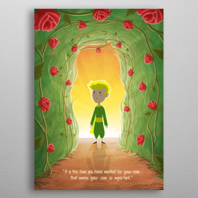 The little prince and the roses. metal poster