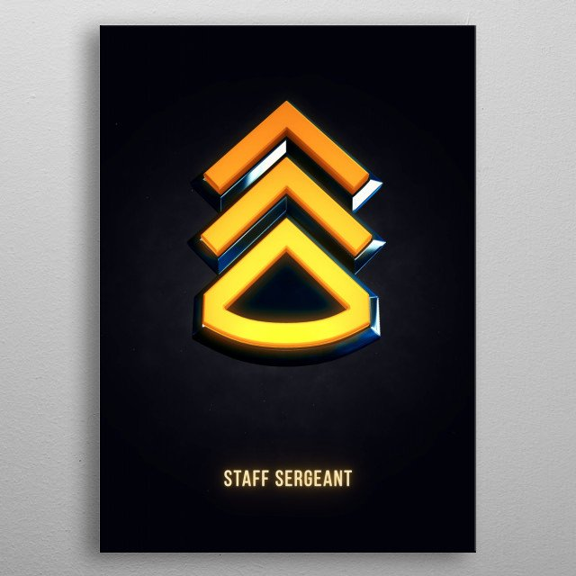 Staff Sergeant - Military Insignia 3D metal poster