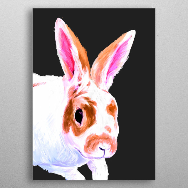 Bunnies are so cute and fluffy! They will often sit in your lap, or beside you when you're on the floor. metal poster