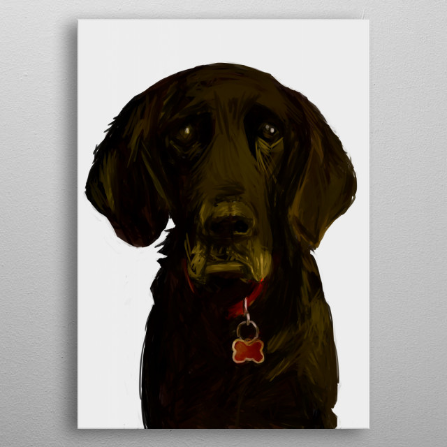 Aw, this dog looks so sad... drooping ears, lids and lips, soulful eyes and a mournful demeanor.  metal poster