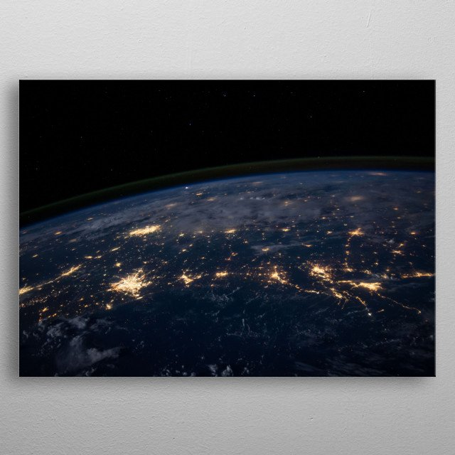 Earth by night metal poster