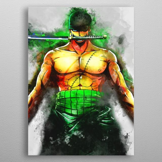 Zoro / OnePiece / WaterColor metal poster