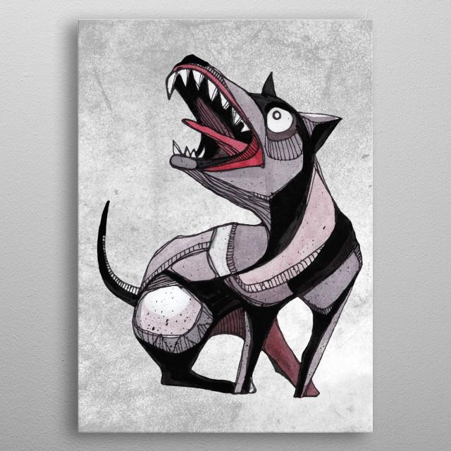 Crazy dog illustration metal poster