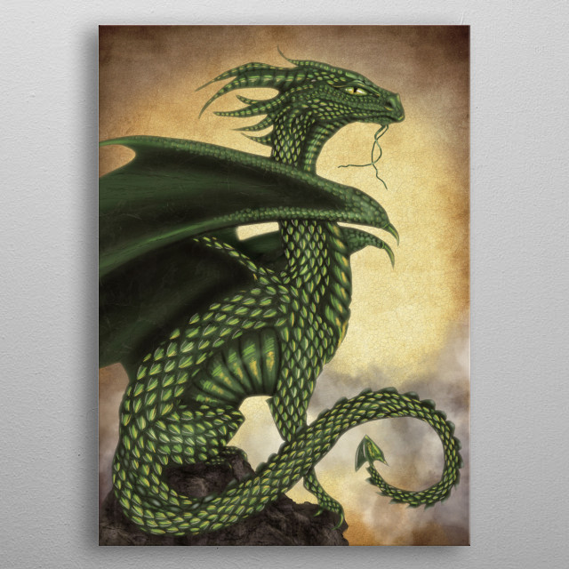 Green Dragon metal poster