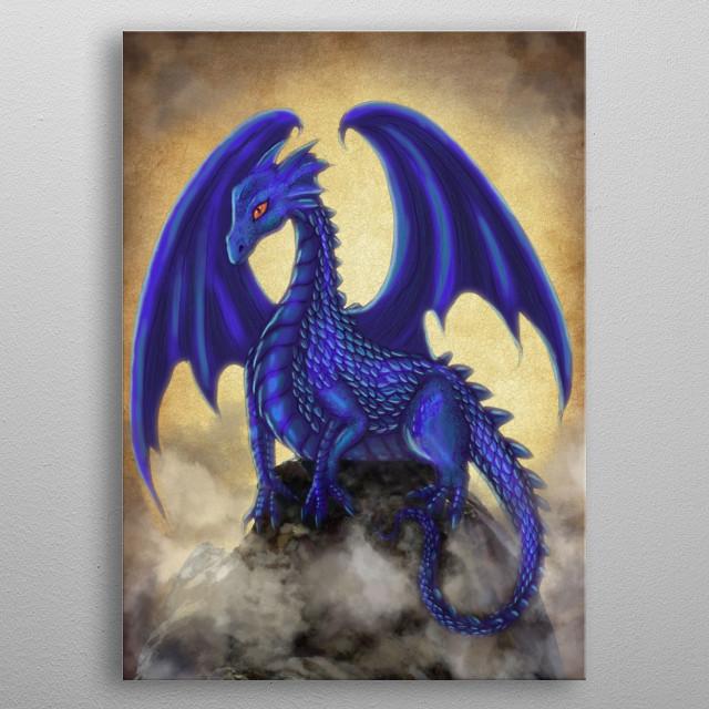 Blue Indigo Dragon metal poster