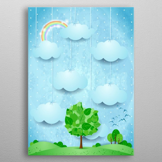 Countryside with big tree, vertical version metal poster