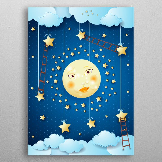 Surreal night with moon and ladders, vertical metal poster