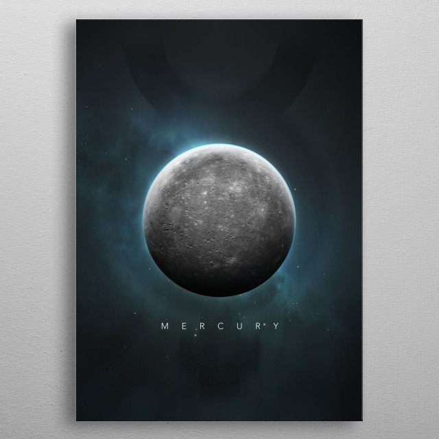 A Portrait of the Solar System: Mercury metal poster