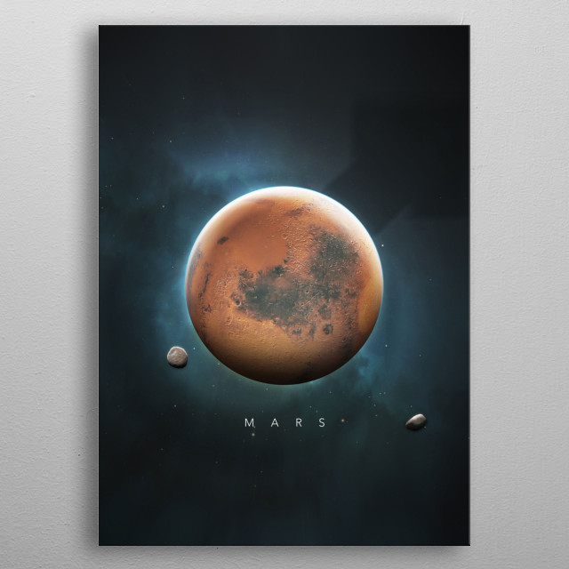 A Portrait of the Solar System: Mars metal poster