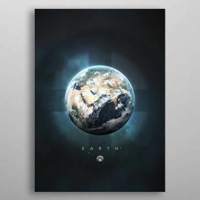 A Portrait of the Solar System: Earth metal poster