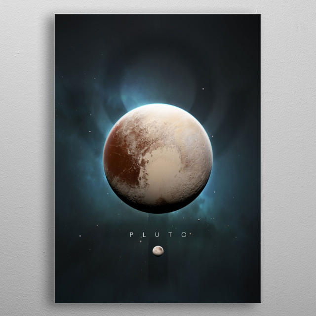 A Portrait of the Solar System: Pluto metal poster