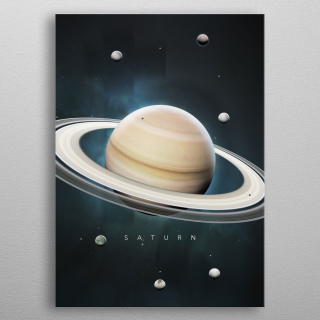 A Portrait of the Solar System: Saturn metal poster