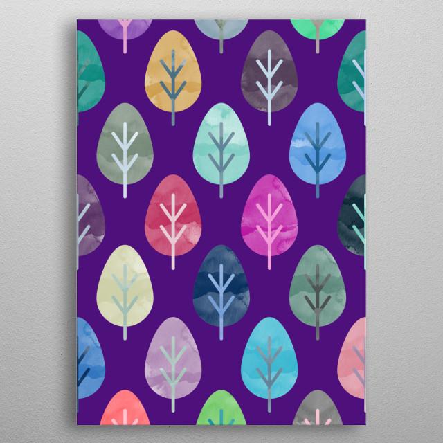 Watercolor Leaves  metal poster