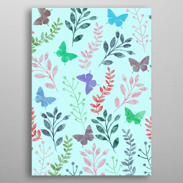 Watercolor Floral & Butterfly metal poster