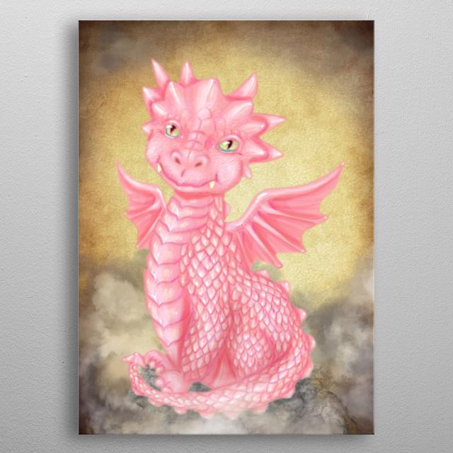 Pink Baby Dragon metal poster