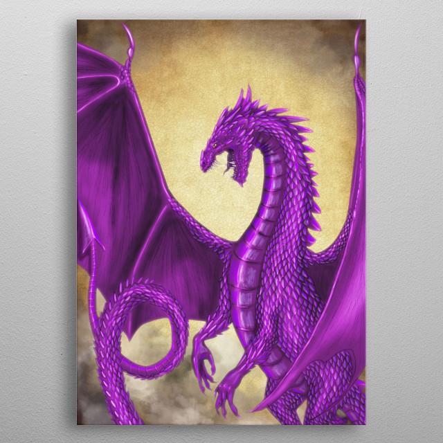 Purple Dragon metal poster