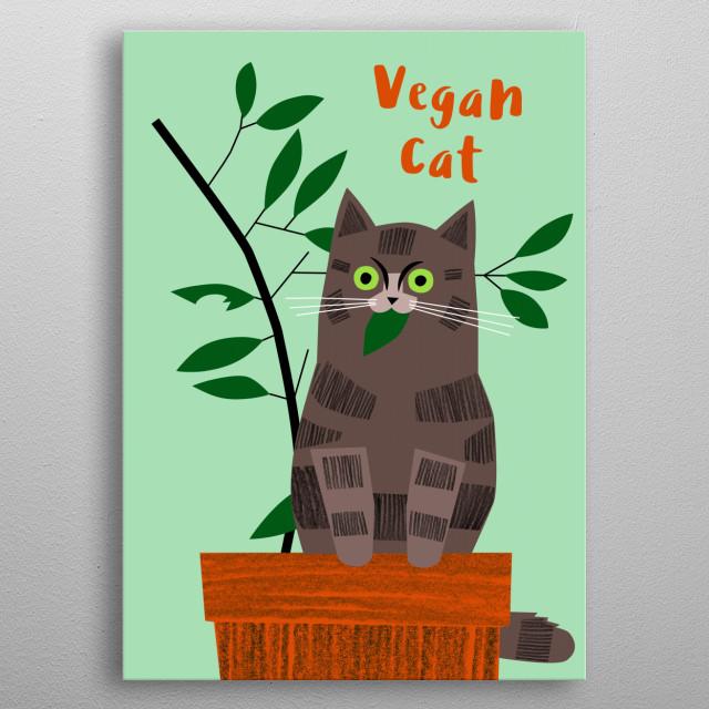 Vegan Cat metal poster