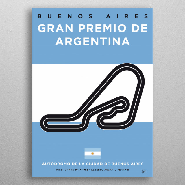 My F1 Buenos Aires Race Track Minimal Poster metal poster