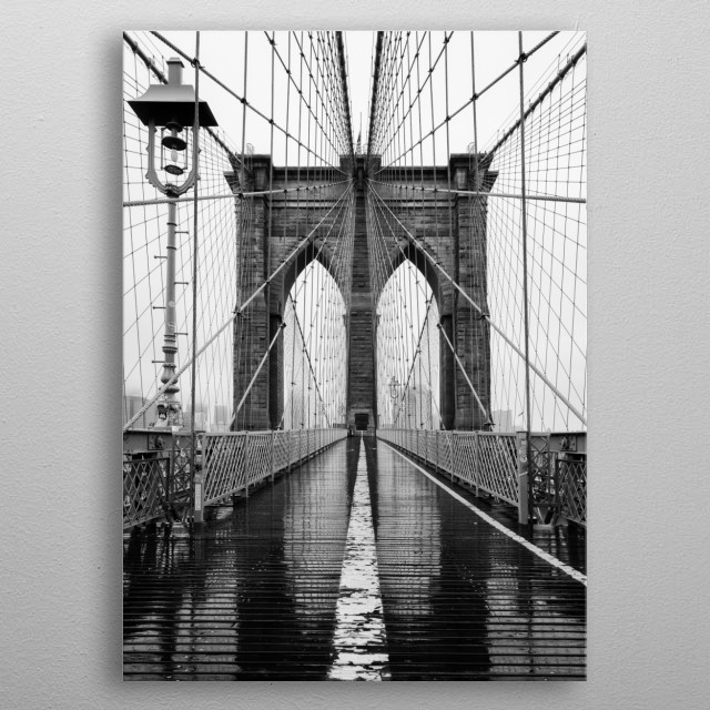 A rare moment captured of the Brooklyn Bridge absent of any pedestrians.  metal poster