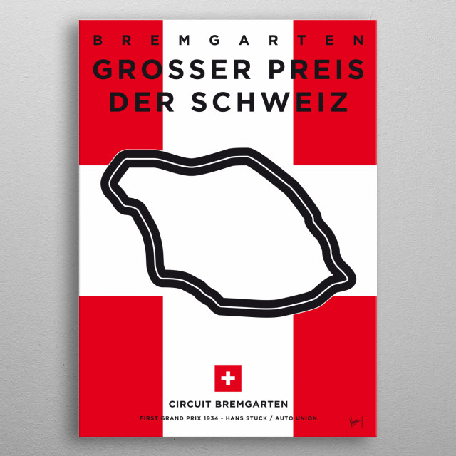 My F1 Bremgarten Race Track Minimal Poster metal poster
