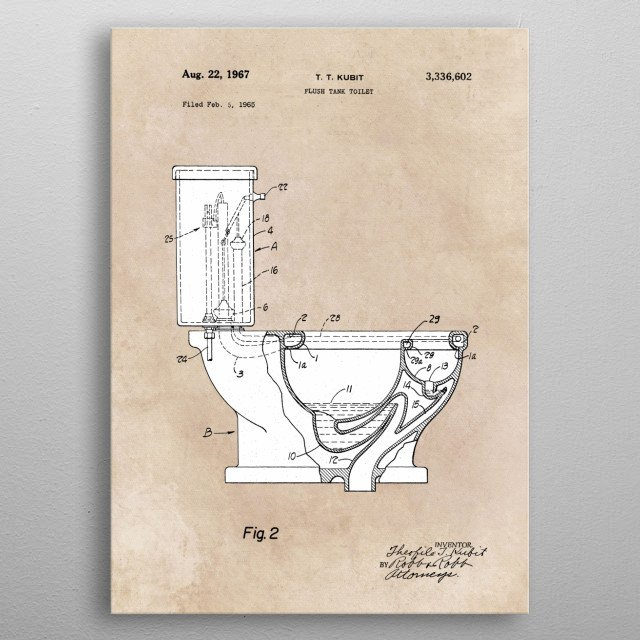 patent art Kubit 1967 Flush tank toilet metal poster