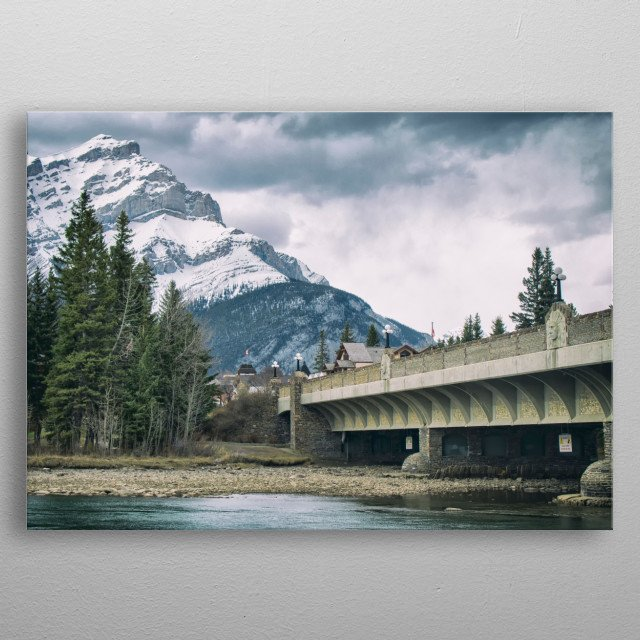 Cascade Mountain from the Bow River Bridge metal poster