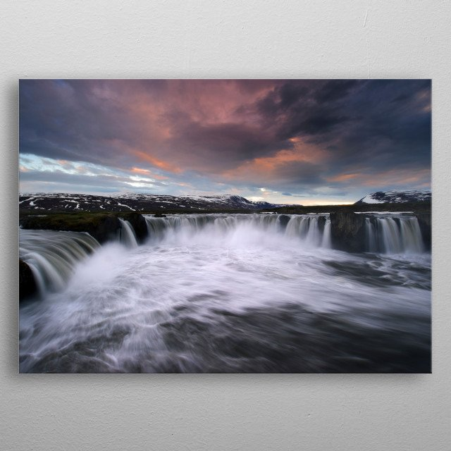 iceland waterfall metal poster