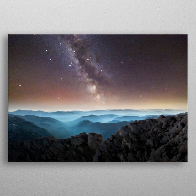 Milky Way Over The Mountains And Volcano  metal poster