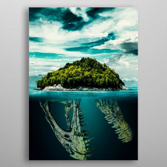 Island With A Mystery Dinosaur Skull  metal poster