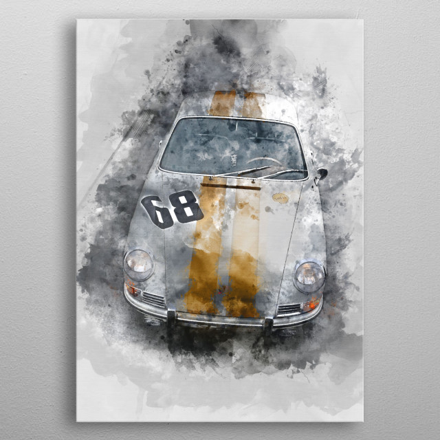 Racing car with watercolor effects. metal poster