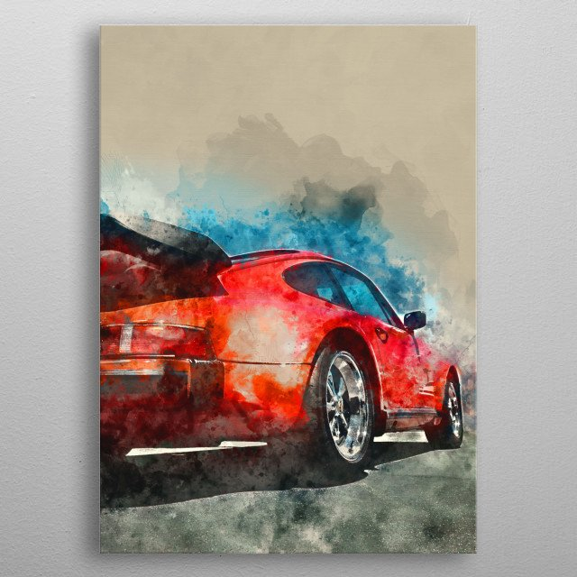 Vintage Car with watercolor effects. metal poster