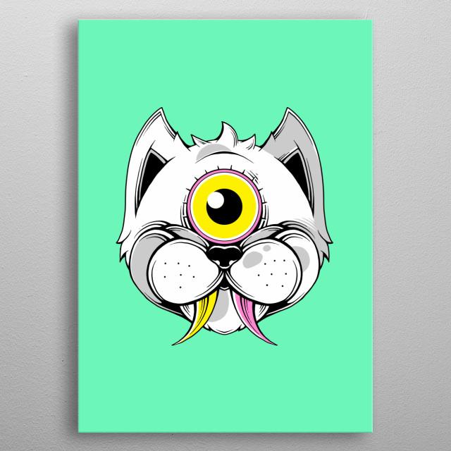 Extraterrestrial Cat 2 metal poster