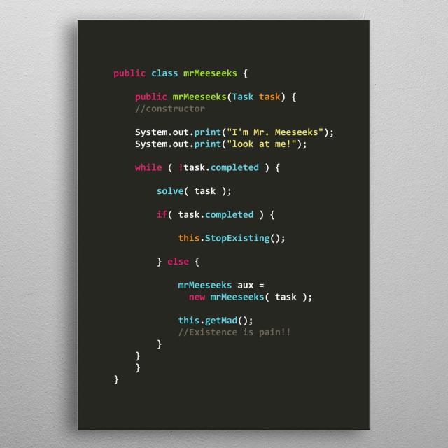 Mr. MeeSeeks Algorithm in Java metal poster