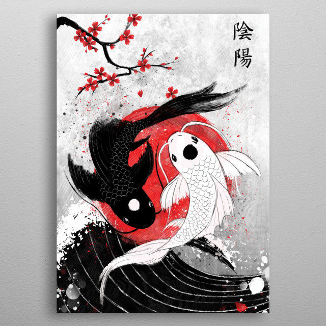 Koi Fish Yin Yang - RubyArt metal poster