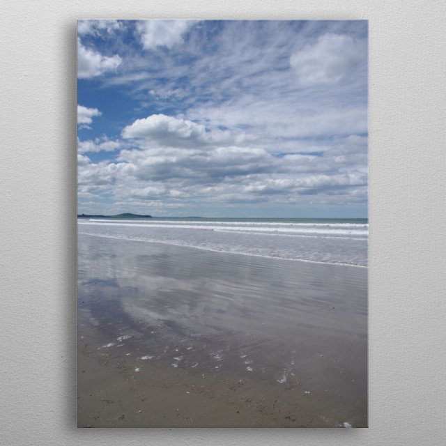 Reflections on the Beach Sky metal poster