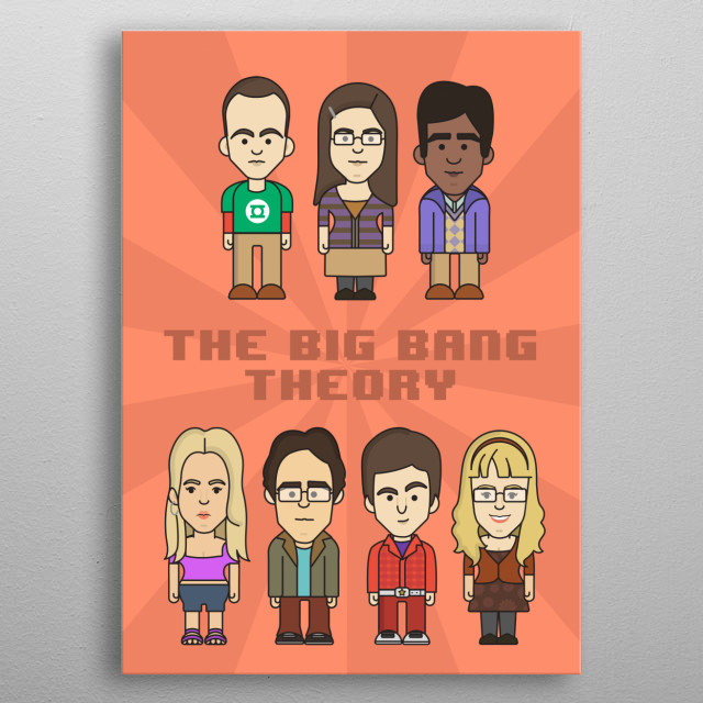 Big Bang Theory all characters color background metal poster