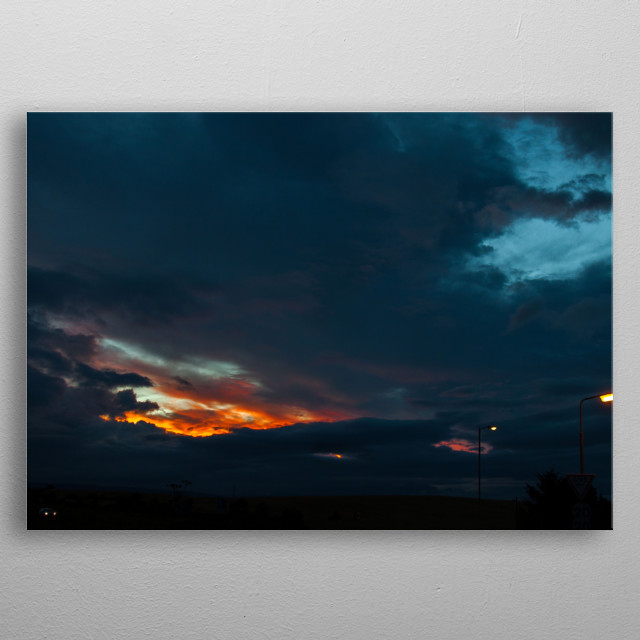 Scottland at night, Photography metal poster