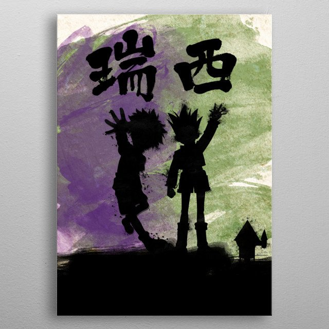 Violet and green Killua and Gon metal poster