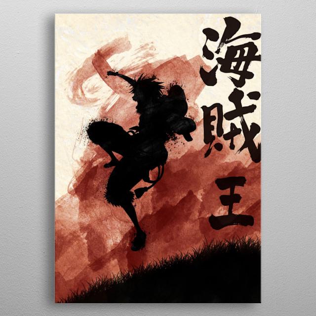 Red Luffy with kanji king of pirates metal poster