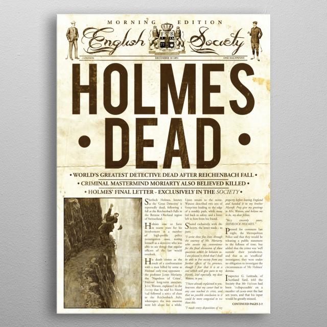 Holmes Dead Newspaper metal poster