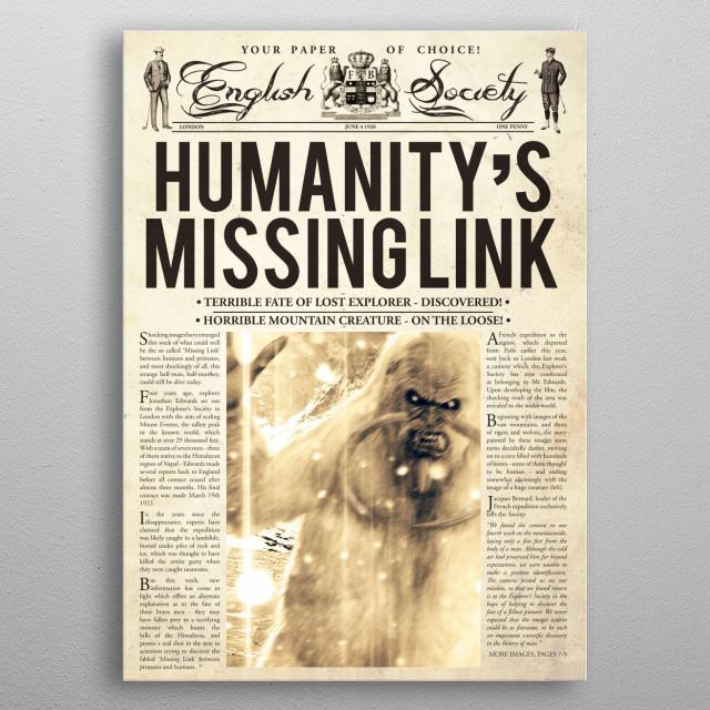 The Missing Link Newspaper  metal poster